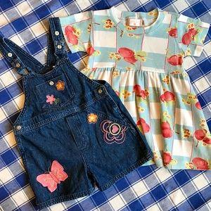 Vintage Denim Overalls and Summer Cotton Dress 2T